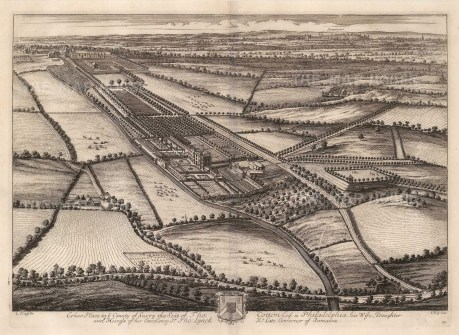 """Kip: Esher Place, Surrey. 1715. An original antique copper engraving. 19"""" x 14"""". [ENGp259]"""