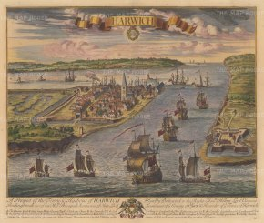 "Kip: Harwich. 1715. A hand coloured original antique copper engraving. 23"" x 18"". [ENGp327]"