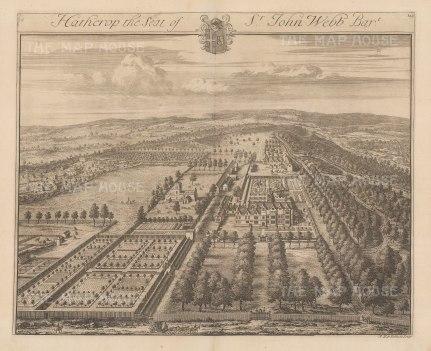 "Kip: Hatherop, Gloucestershire. 1712. An original antique copper engraving. 19"" x 14"". [ENGp345]"
