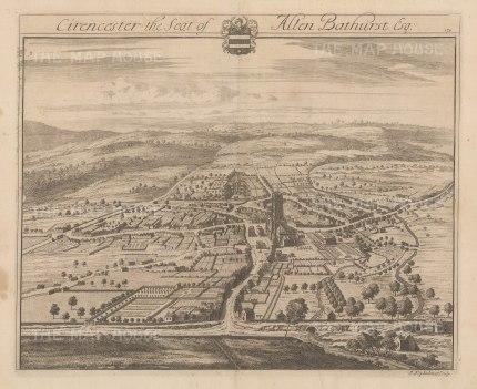 "Kip: Cirencester Park, Gloucestershire. 1712. An original antique copper engraving. 19"" x 14"". [ENGp346]"