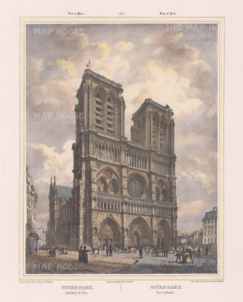 "Benoist: Notre Dame, Paris. c1850. A hand coloured original antique lithograph. 12"" x 18"". [FRp1351]"