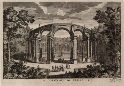 Perspective of the Colonnade within the gardens.