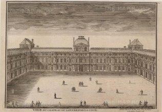 """de Fer: Louvre. 1704. An original antique copper engraving. 14"""" x 10"""". [FRp1409]"""