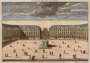 """Vue d'Optique: Place Vendome. c1780. A hand coloured original antique copper engraving. 14"""" x 10"""". [FRp1469]"""