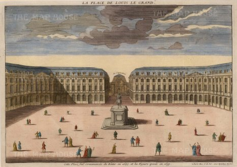 "Vue d'Optique: Place Vendome, Paris. c1780. A hand coloured original antique copper engraving. 14"" x 10"". [FRp1469]"
