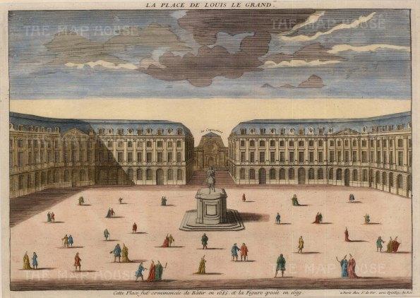 """Vue d'Optique: Place Vendome, Paris. c1780. A hand coloured original antique copper engraving. 14"""" x 10"""". [FRp1469]"""