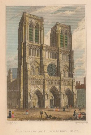 "Pugin: Notre Dame, Paris. 1828. A hand coloured original antique steel engraving. 4"" x 6"". [FRp1516]"