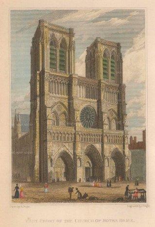 "Pugin: Notre Dame. 1828. A hand coloured original antique steel engraving. 4"" x 6"". [FRp1516]"