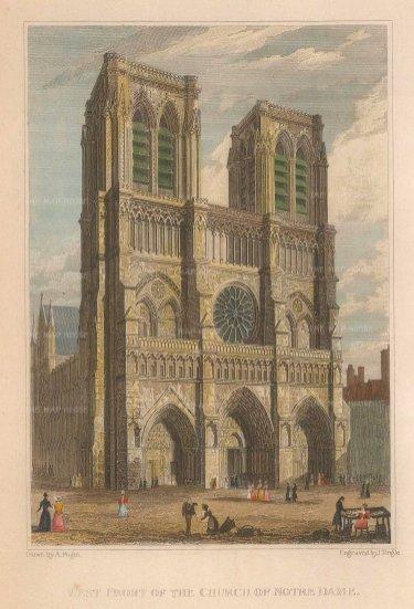"Pugin: Notre Dame, Paris. 1828. A hand coloured original antique steel engraving. 4"" x 6"". [FRp1516]"