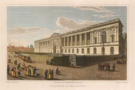 "Lieut. Col. Batty: Louvre, Paris. 1821. A hand coloured original antique steel engraving. 9"" x 6"". [FRp1531]"