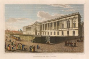 "Lieut. Col. Batty: Louvre. 1821. A hand coloured original antique steel engraving. 9"" x 6"". [FRp1531]"