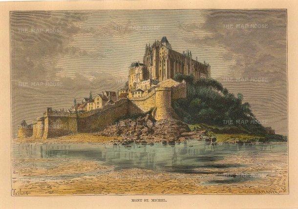 """Reclus: Mont St Michel. 1894. A hand coloured original antique wood engraving. 8"""" x 6"""". [FRp1595]"""