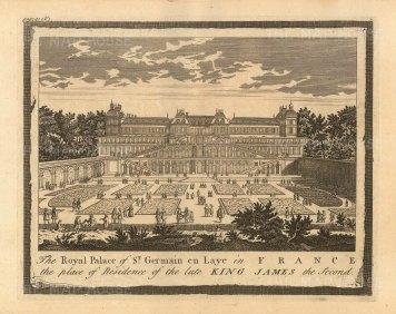 "Moll: St Germain en Laye, Paris. 1745. An original antique copper engraving. 10"" x 6"". [FRp1620]"