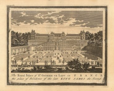 "Moll: St Germain en Laye, Paris. 1745. An original antique copper engraving. 10"" x 6"". [FRp1620]"
