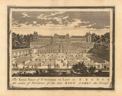 "Moll: St Germain en Laye. 1745. An original antique copper engraving. 10"" x 6"". [FRp1620]"