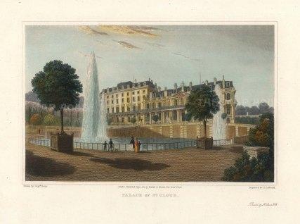 """Lieut. Col. Batty: Palais de St Cloud. 1821. A hand coloured original antique steel engraving. 9"""" x 6"""". [FRp1622]"""