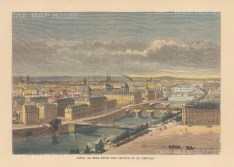 "Reclus: Paris. 1894. A hand coloured original antique wood engraving. 8"" x 6"". [FRp1660]"