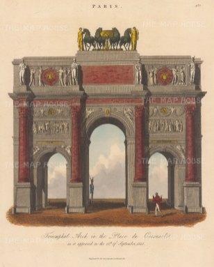 "Wilkes: Arch de Triomphe. 1821. An original hand coloued antique copper engraving. 8"" x 11"". [FRp1666]"