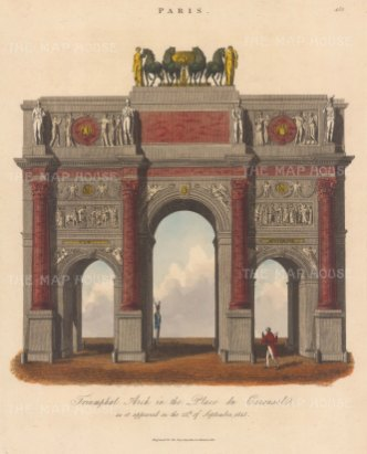 "Wilkes: Arch de Triomphe. 1821. An original hand coloued antique copper engraving. 8"" x 11"". [FRp1666]"