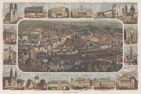 "Anonymous: Munich. c1875. A hand coloured original antique wood engraving. 15"" x 10"". [GERp1278]"