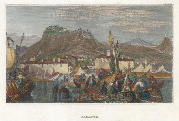 "Fullarton & Co.: Port Lechaio, Corinth. 1856. A hand coloured original antique steel engraving. 6"" x 4"". [GRCp883]"