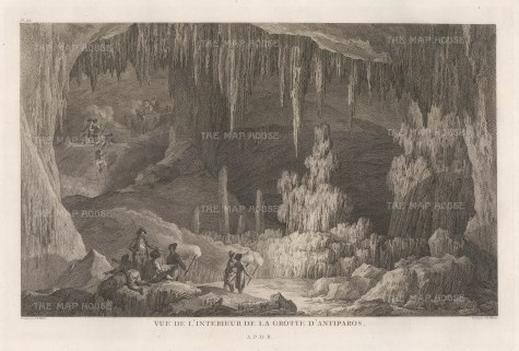 View of the stalactites and stalagmites of the Grottos on the southeastern coast.