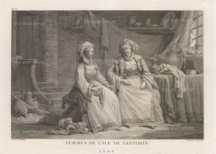 "Gouffier: Santorini. 1782. An original antique copper engraving. 16"" x 10"". [GRCp888]"