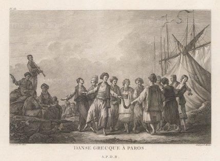 "Gouffier: Paros. 1782. An original antique copper engraving. 16"" x 10"". [GRCp890]"