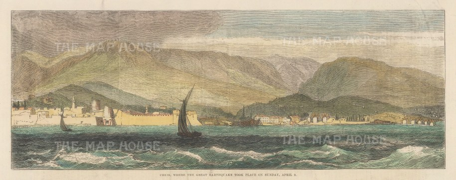 """Illustrated London News: Castro, Chios. 1881. A hand coloured original antique wood engraving. 13"""" x 5"""". [GRCp900]"""