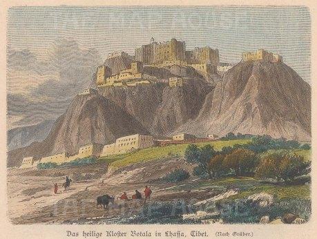 "Geiltbeck: Lhasa, Tibet. 1897. A hand coloured original antique wood engraving. 5"" x 4"". [INDp1522]"