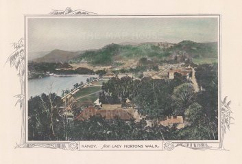 "Anonymous: Kandy. c1920. A hand coloured original vintage photolithograph. 14"" x 10"". [INDp788]"