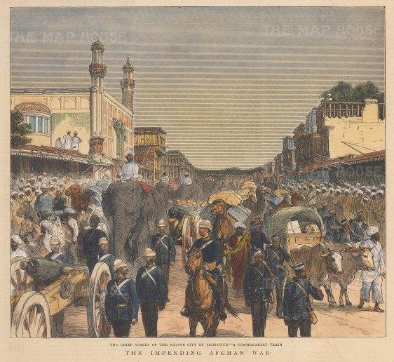 "Graphic Magazine: Peshawar. 1878. A hand coloured original antique wood engraving. 8"" x 8"". [INDp1582]INDp1578w"
