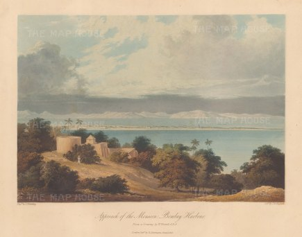 Bombay: Approach of the Monsoon. View of Mumbai and its harbour from Malabar Hill. After William Westall.