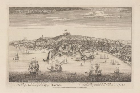 Bird's eye view of Naples from the Bay towards Castel St. Elmo with Vesuvius on the left.