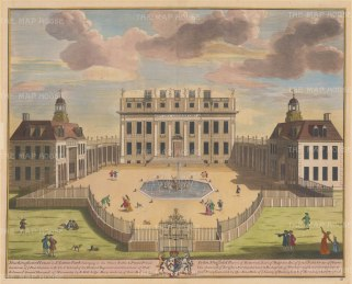"Kip: Buckingham House, London. 1715. A hand coloured original antique copper engraving. 23"" x 18"". [LDNp714]"