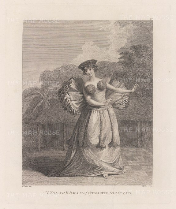 Matavai Bay: Young Woman of Otaheite dancing. After John Webber, artist on the Third Voyage