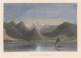 Ovalau Island. View of the Valley of Voona. From the Charles Wilkes Expedition 1838-42