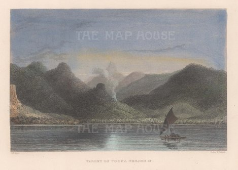 Ovalau Island: View of the Valley of Voona. From the Charles Wilkes Expedition 1838-42