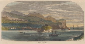 "Illustrated London News: Levuka, Fiji. 1875. A hand coloured original antique wood engraving. 10"" x 6"". [PLYp214]"