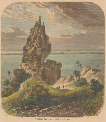 "Collins: Bora Bora. c1870. A hand coloured original antique wood engraving. 6"" x 7"". [PLYp242]"