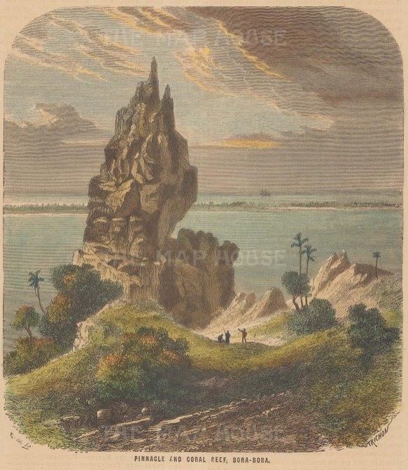 "Collins: Bora Bora. c1870. A hand coloured original antique wood engraving. 6"" x 7"". [PLYp242]"