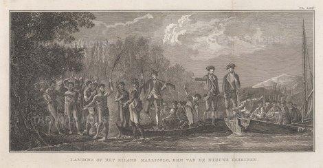 New Hebrides (Vanuatu). Malekula Island. Reception of Captain Cook. After William Hodge, artist on the Second Voyage. Dutch Edition.