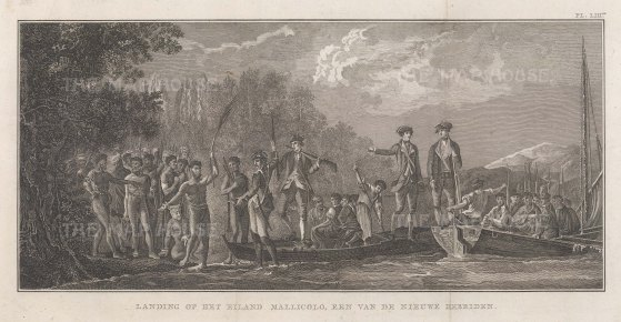 New Hebrides (Vanuatu): Malekula Island. Reception of Captain Cook. After William Hodge, artist on the Second Voyage. Dutch Edition.