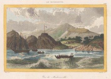"de Rienzi: Madisonville, Nuku Hiva Island. 1837. A hand coloured original antique steel engraving. 6"" x 4"". [PLYp260]"