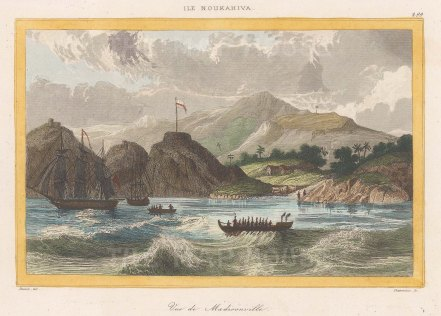 "de Rienzi: Madisonville, Nuku Hiva Island. 1837. A hand coloured original antique steel engraving. 6"" x 4"". [PLYp260]"