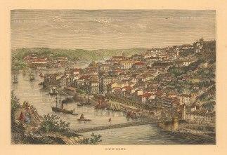 """Collins: Porto, Portugal. c1870. A hand coloured original antique wood engraving. 8"""" x 6"""". [PORp199]"""