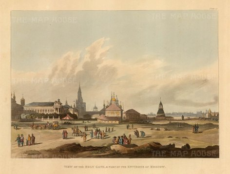 Holy Gate and part of the Environs of Moscow. Panoramic view of the Andronikov Monastary complex founded in 1357. After Guerard de la Barthe.