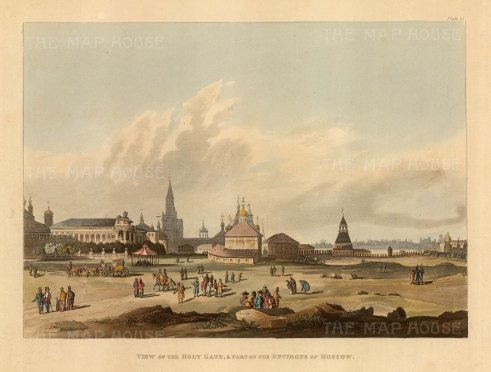 Holy Gate and part of the Environs of Moscow: Panoramic view of the Andronikov Monastary complex founded in 1357. After Guerard de la Barthe.