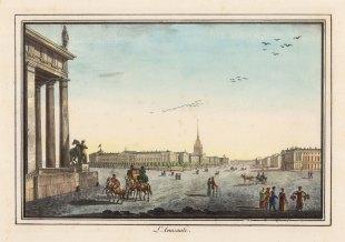 """Alexandriev: Admiralty, St Petersburg. 1828. A hand coloured original antique lithograph. 16"""" x 12"""". [RUSp744]"""
