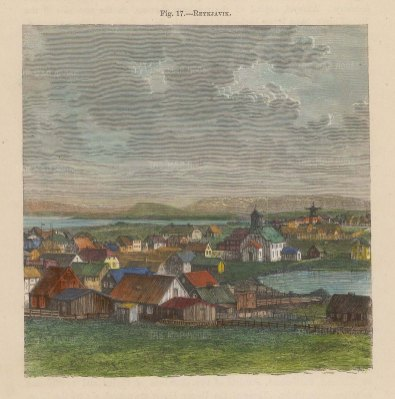 "Reclus: Rekyavik, Iceland. 1894. A hand coloured original antique wood engraving. 5"" x 4"". [SCANp340]"